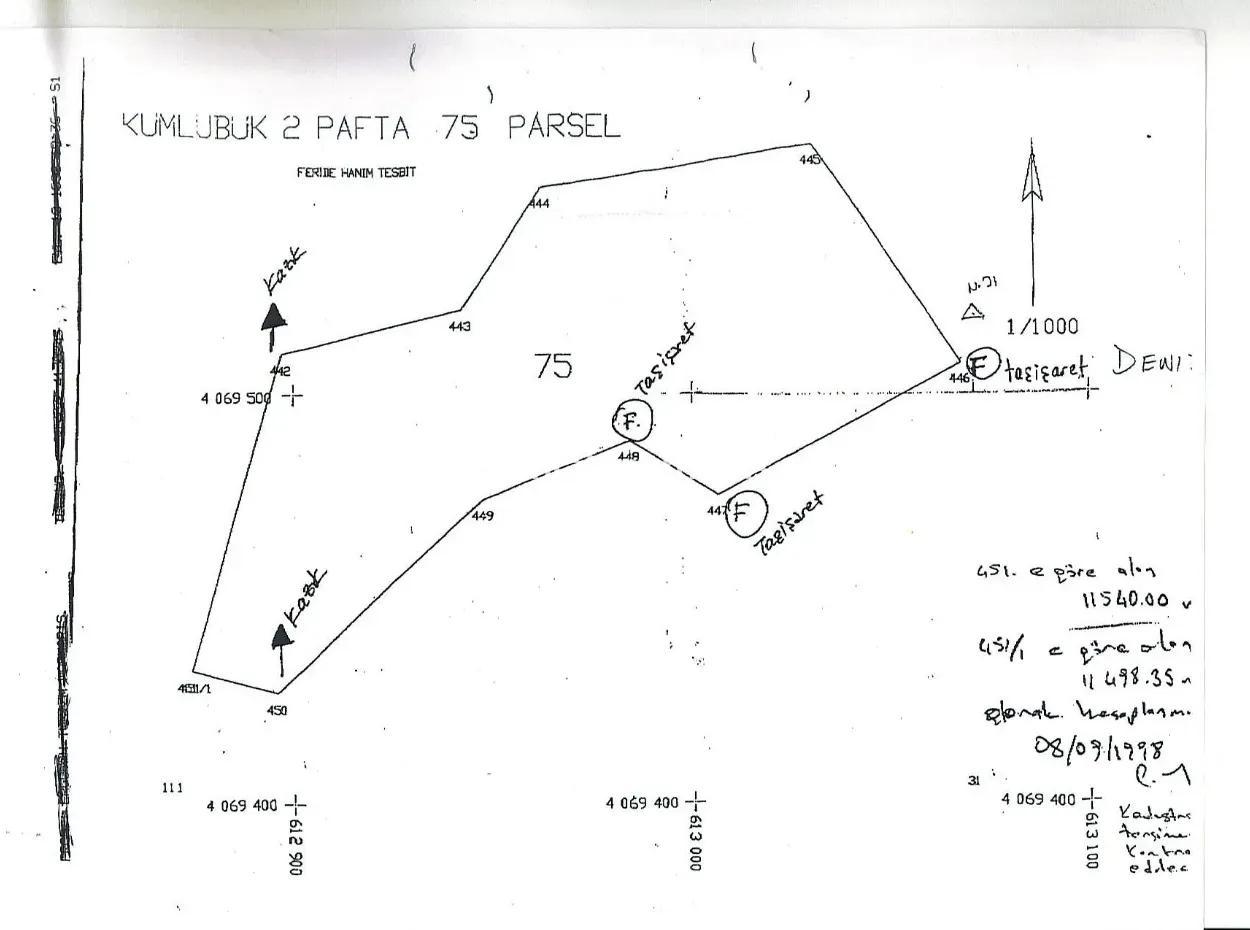 Kumlubük Koyunda Deniz Manzaralı 11000 M2 Satılık Arsa